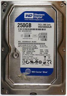 250GB WD2500AAJB PATA 8MB Cache WD Caviar Blue, eine Festplatte von WD. ID18423