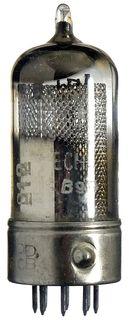 12DW7 Doppel-Triode. Eine Vorverstärker-Radioröhre, Hersteller Siemens. Glas-Metall-Ausführung. ID18700