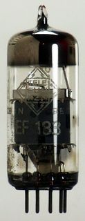 EF183 Pentode, a radio tube by Telefunken, w. diamond / rhomb #451