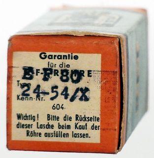 """EF80 / 6BX6 Pentode. Eine """"gut"""" geprüfte Radioröhre von RFT Berlin. ID633"""