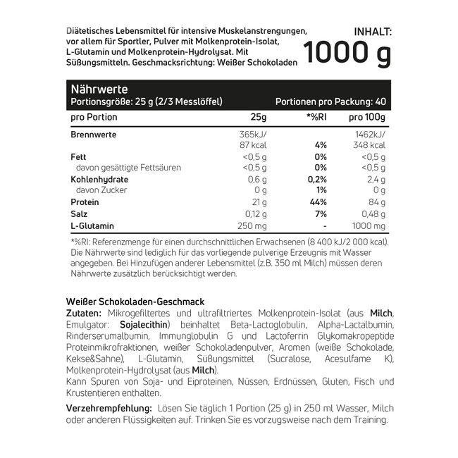 Whey Protein Isolat Weiße Schokolade 1kg – Bild 2