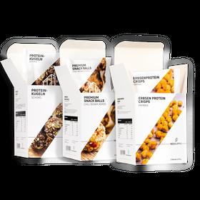 "Bundle SNACKS Premium Snack Balls ""Chili, Sesam, Kokos"" & Proteinkugeln ""Schoko"" & Erbsenproteincrisps Paprika – Bild 1"