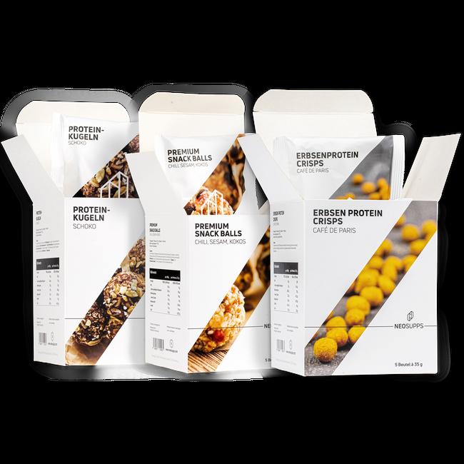 "Bundle SNACKS Premium Snack Balls ""Chili, Sesam, Kokos"" & Proteinkugeln ""Schoko"" & Erbsenproteincrisps Cafe de Paris – Bild 1"