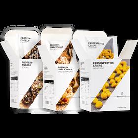 "Bundle SNACKS Premium Snack Balls ""Chili, Sesam, Kokos"" & Proteinkugeln ""Schoko"" & Erbsenproteincrisps Honig Senf – Bild 1"
