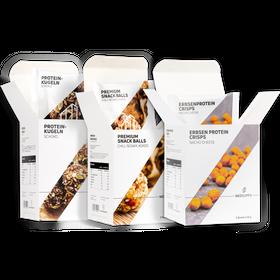 "Bundle SNACKS Premium Snack Balls ""Chili, Sesam, Kokos"" & Proteinkugeln ""Schoko"" & Erbsenproteincrisps Nacho Cheese – Bild 1"