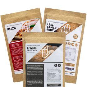 """Bundle BREAD FOUR Eiweißbrötchen & Protein Pizzamischung Pizzateig & Protein """"Leinsamen Brot"""" – Bild 1"""