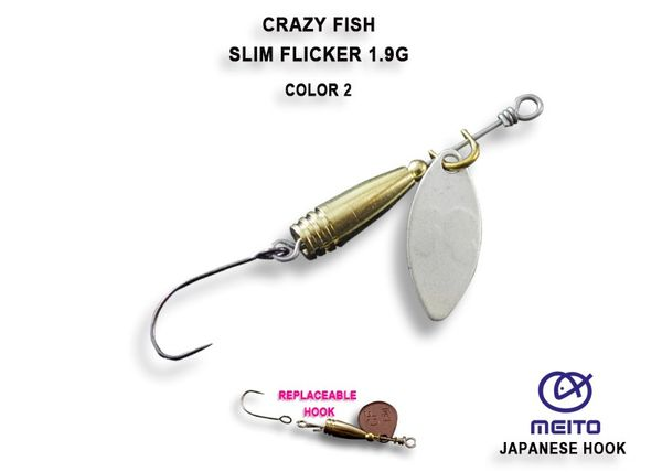 Slim Flicker Spinner 1,9g Ultra Light von Crazy Fish, Forellenspinner, Döbelspinner – Bild 2