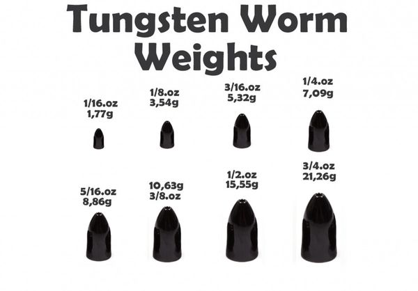 Tungsten Bullet Worm Weight (5 Stück) Black – Bild 2