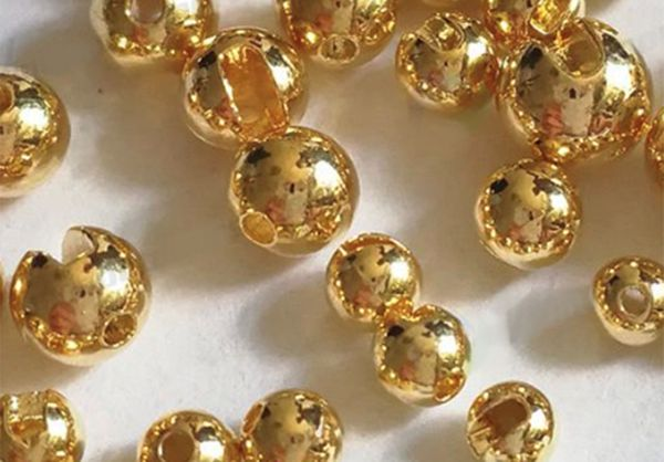 Slotted Tungsten Bead Gold (10 Stck)
