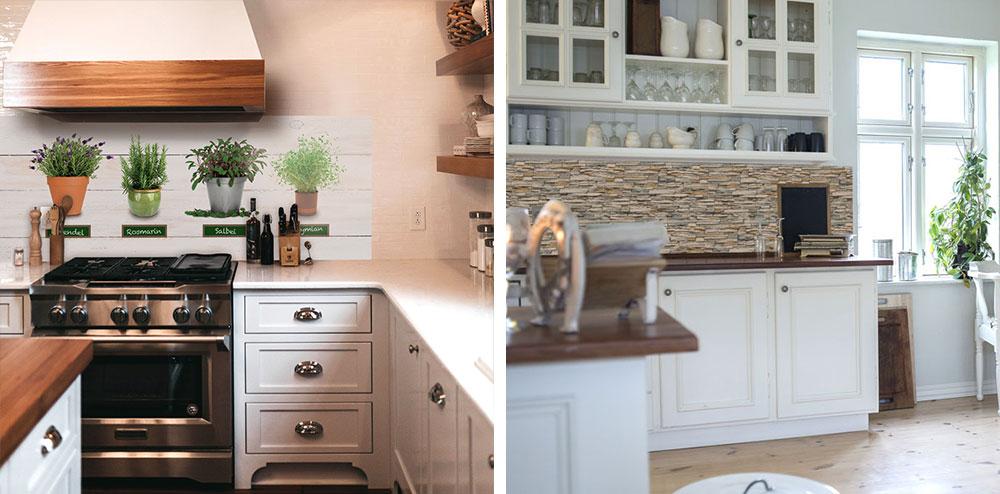 Zwei Landhausküchen mit Küchenrückwänden, links mit Kräutermotiv, rechts in Steinmaueroptik