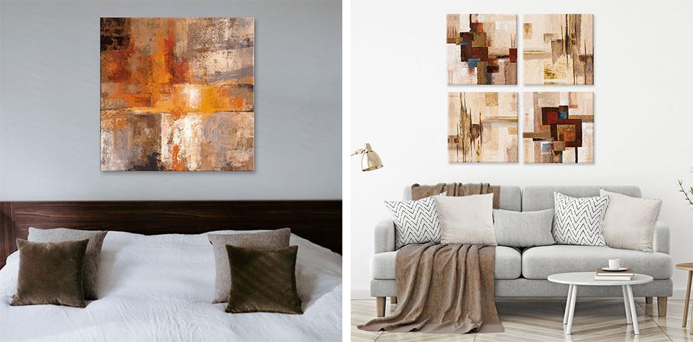 Zwei Bilder, auf dem links ist ein Bett aus dunklem Holz und an der Wand darüber hängt ein abstraktes Leinwandbild in Braun-, Orange- und Beigetönen. Auf dem rechten Bild ist eine graue Couch und an der Wand darüber hängt ein Viererset von abstrakten Bilder in Beigetönen.