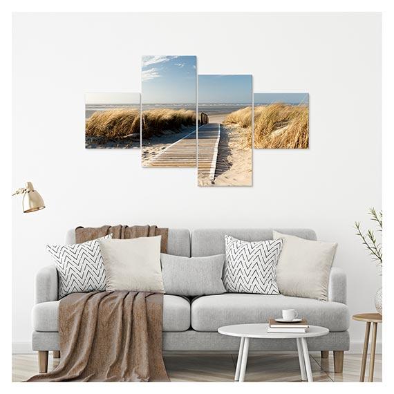 Leinwandbild mit Strand Motiv über Sofa im Wohnzimmer von Artland im Onlineshop Artgalerie Bildershop
