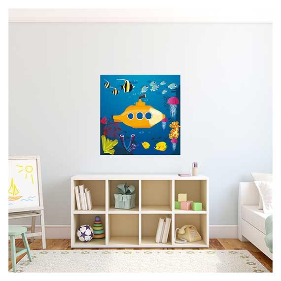 Wandaufkleber mit einem Unterwasser Motiv für Kinder über Regal im Kinderzimmer von Artland im Onlineshop Artgalerie Bildershop