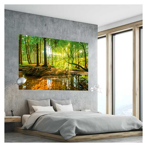 Wandaufkleber mit Wald Motiv über Bett im Schlafzimmer von Artland im Onlineshop Artgalerie Bildershop