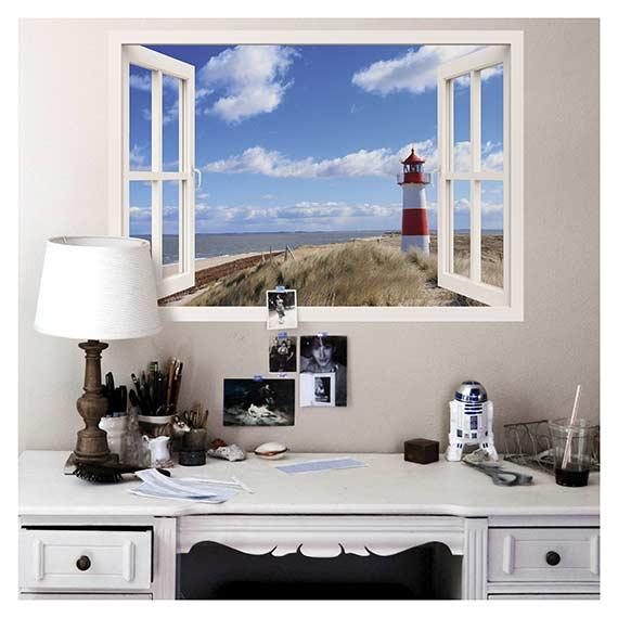 Wandaufkleber mit Strand Motiv als Fensterblick über Schreibtisch von Artland im Onlineshop Artgalerie Bildershop