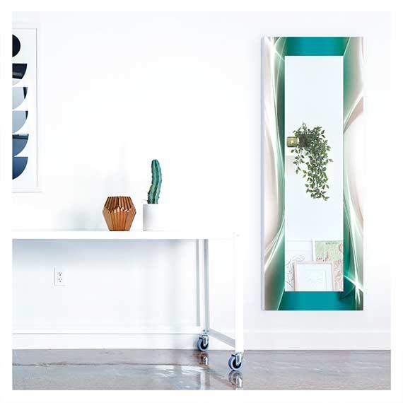 Ganzkörperspiegel mit abstraktem Motivrahmen im neben Sideboard im Flur von Artland im Onlineshop Artgalerie Bildershop