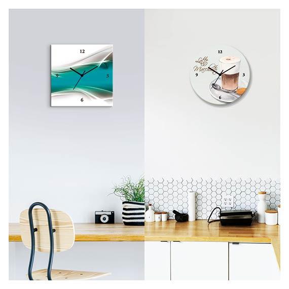 Wanduhren aus Glas und auf Leinwand mit abstraktem Motiv und Kaffee Motiv in der Küche und über Schreibtisch von Artland im Onlineshop Artgalerie Bildershop