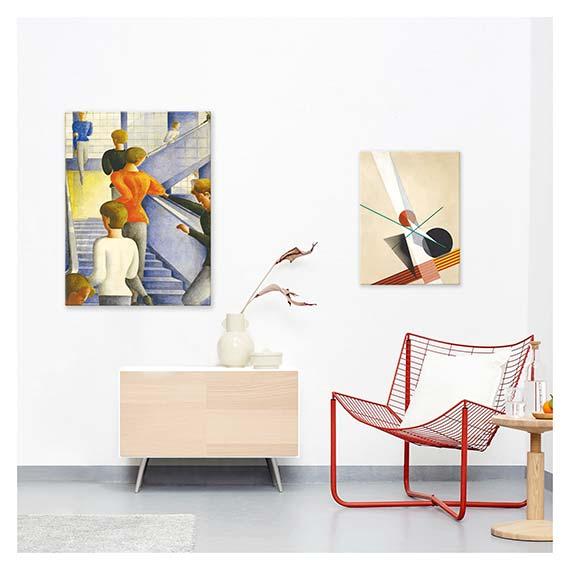 Wandbilder mit Bauhaus Motiven über Kommode und Sessel im Wohnzimmer von Artland im Onlineshop Artgalerie Bildershop