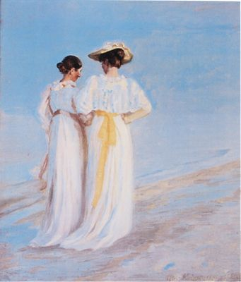 Michael Peter Ancher: Two Ladies on the Beach - Kunstdruck auf Holzfaserplatte 57 x 48 cm
