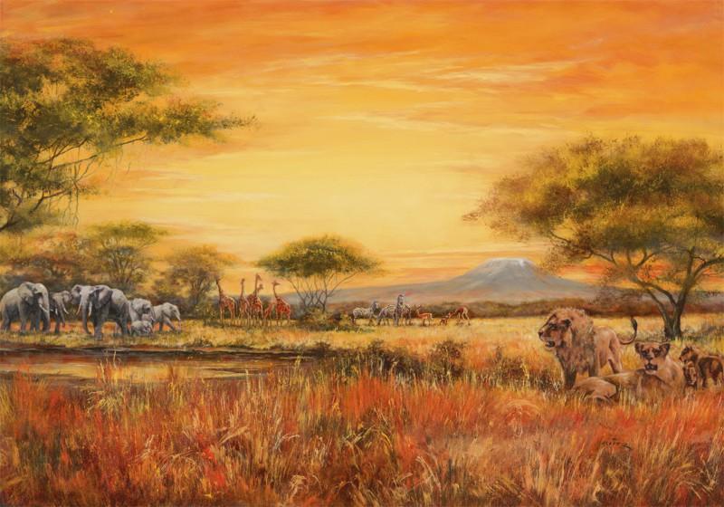 A. Heins: Afrikanische Steppe mit Löwen - Kunstdruck auf Holzfaserplatte 69 x 99 cm