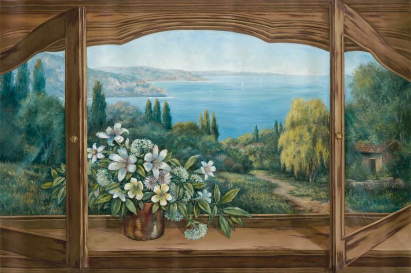 A. Heins: Ausblick auf´s Meer - Kunstdruck auf Holzfaserplatte 57 x 89 cm