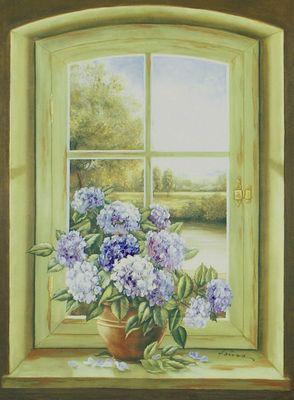 A. Heins: Hortensien am Fenster - Kunstdruck auf Holzfaserplatte 79 x 57 cm
