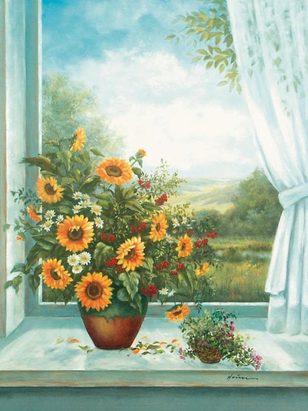 A. Heins: Sonnenblumen am Fenster - Kunstdruck auf Holzfaserplatte 79 x 57 cm