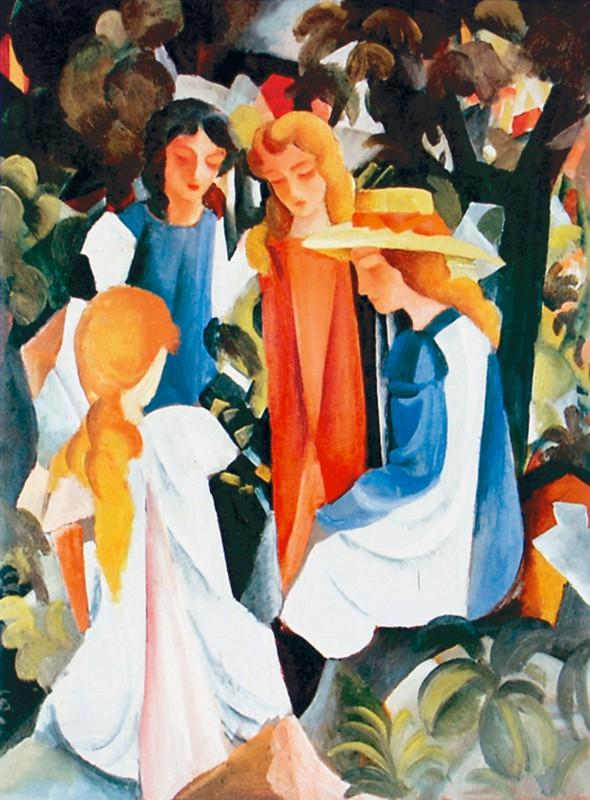 August Macke: Quattro ragazze - Kunstdruck auf Holzfaserplatte 63 x 46 cm