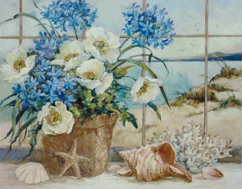 Barbara Mock: Seaside Cottage - Kunstdruck auf Holzfaserplatte 54 x 69 cm