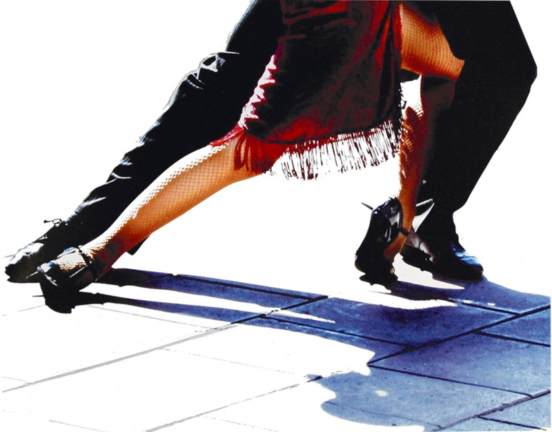 Michele Roohani: Blue Tango - Kunstdruck auf Holzfaserplatte 54 x 69 cm