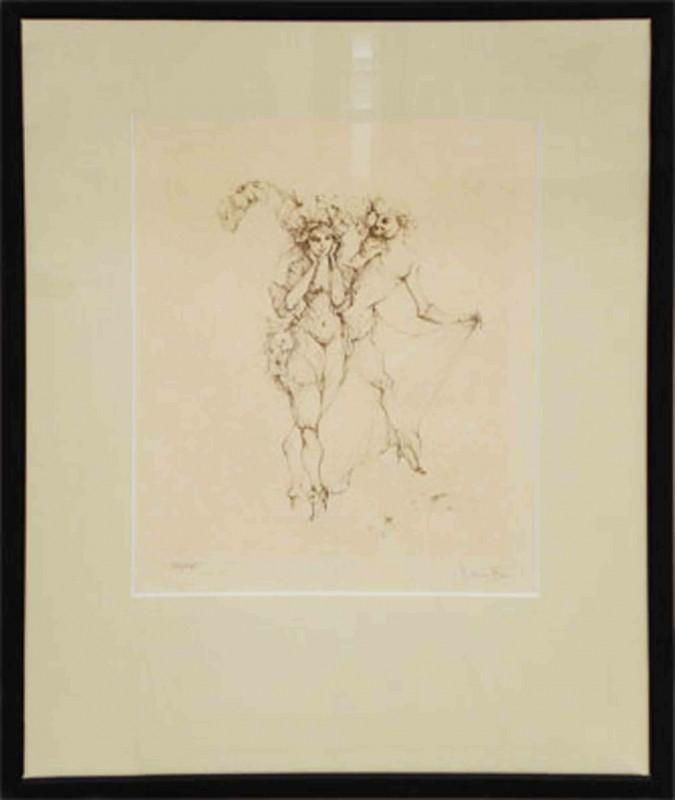 Leonor Fini: ohne Titel - Paar - Original, gerahmt mit Passepartout 70 x 53 cm