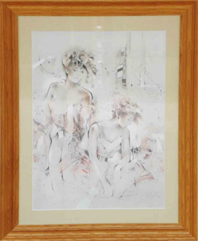 Gabriele Mierzwa: In Gedanken - Original, gerahmt mit Passepartout 80 x 60 cm