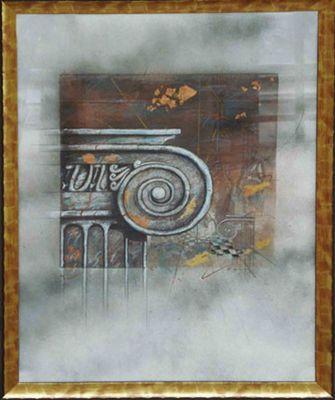 Robert Hoglund: ohne Titel - Säulenkopf - Original, gerahmt 78 x 63 cm