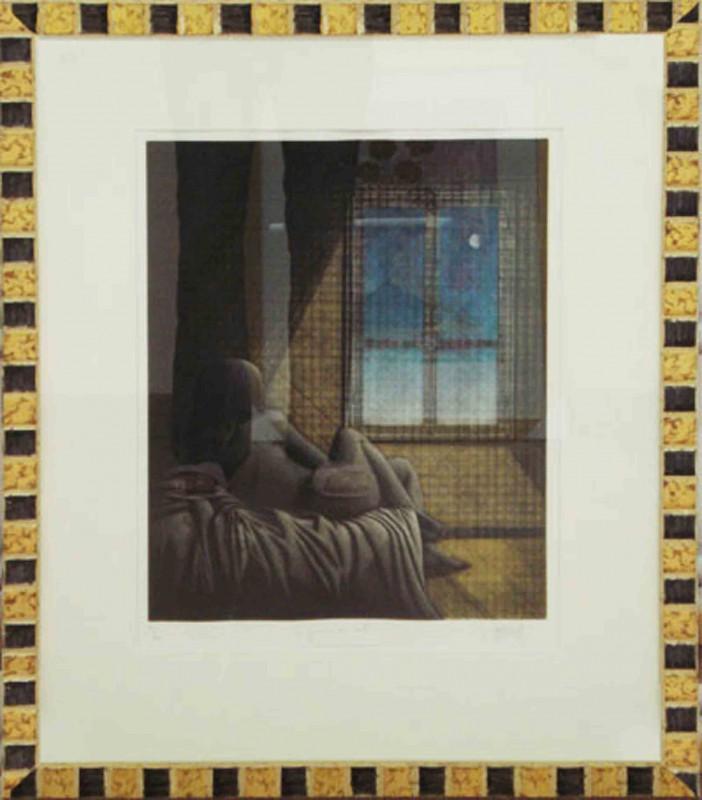 Mathonnat: Der Tag wird schön sein - Original, gerahmt mit Passepartout 78 x 64 cm