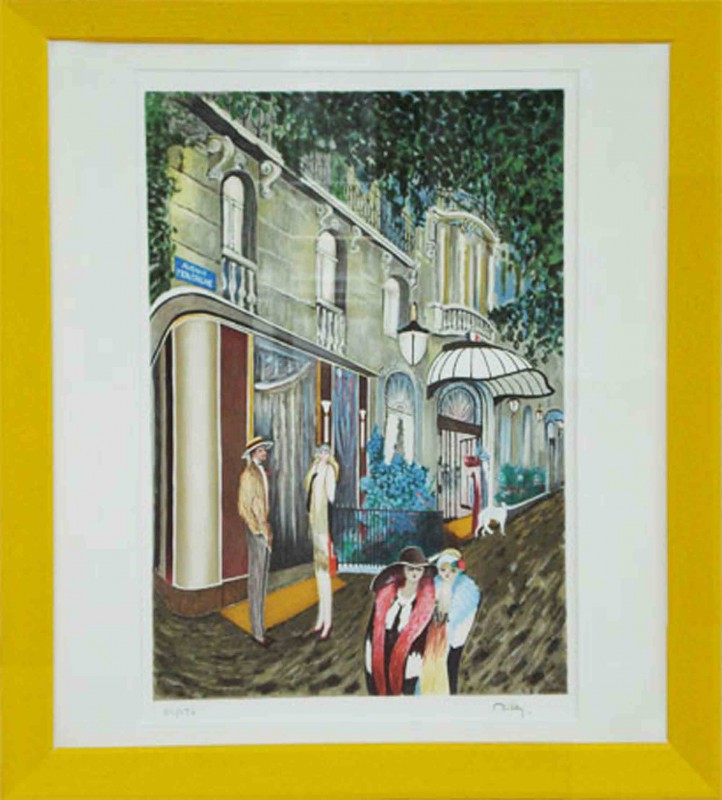 Ramon Dilley: Avenue Montaigne in Paris - Original, gerahmt mit Passepartout 79 x 69 cm