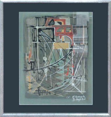 B. Coglitré: Elements II - Original, gerahmt mit Passepartout 82 x 75 cm