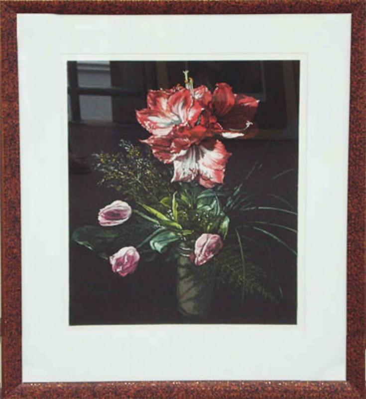 J. Rusch: Ramo con amaryllis - Original, gerahmt mit Passepartout 76 x 63 cm