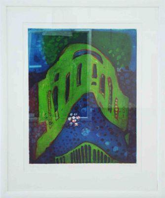 Willibrord Haas: Satansbrücke 1998 - Original, gerahmt mit Passepartout 109 x 89 cm