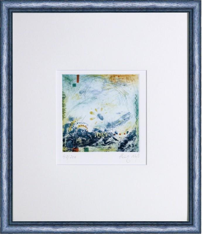 Heinz Voß: ohne Titel - Abstrakt - Original, gerahmt mit Passepartout 44 x 38,5 cm