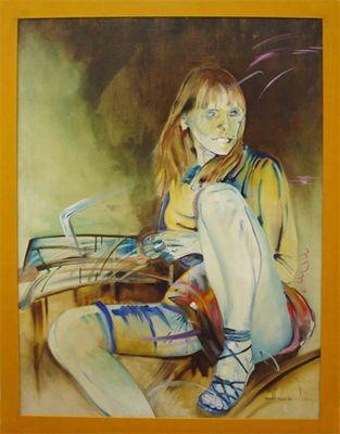 Marek Pera: Frau 1994 - Original auf Leinwand, gerahmt 131 x 101 cm