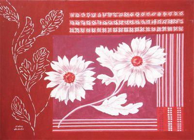 Andrea Schieler: Nordisches Muster - Original auf Leinwand 70 x 100 cm