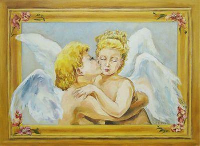 Paula W. Schneider: Engel - Original auf Leinwand 60 x 80 cm