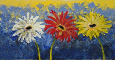 Ellen F.: Gerberas - Original auf Leinwand 50 x 100 cm
