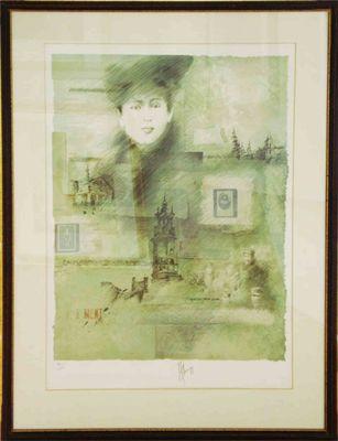 Alain Kleinmann: ohne Titel - Frau - Original, gerahmt mit Passepartout 117 x 92 cm