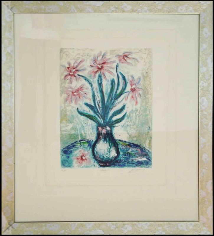 Jean-Marie Guiny: Rudbeckia - Asternstrauß in Vase - Original, gerahmt mit Passepartout 109 x 92 cm
