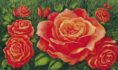 A. S.: Orange Rosen - Original auf Leinwand 70 x 110 cm