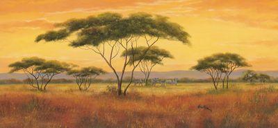 A. Heins: Afrikalandschaft - Original auf Leinwand 60 x 130 cm
