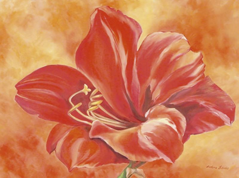 Andrea Schieler: Amaryllis - Original auf Leinwand 100 x 70 cm