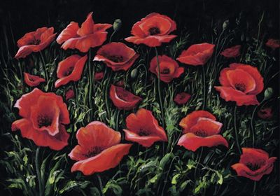 A. S.: Midnight Poppies - Original auf Leinwand 70 x 100 cm