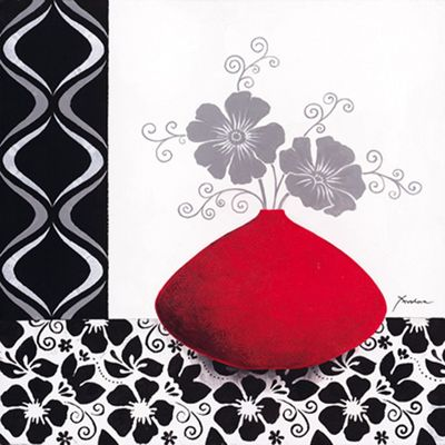 K. Frolova: Floral pattern with red vase I - Original auf Leinwand 70 x 70 cm